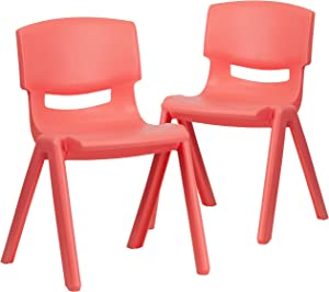 """Flash Furniture 2 Pack Red Plastic Stackable School Chair with 13.25"""" Seat Height"""