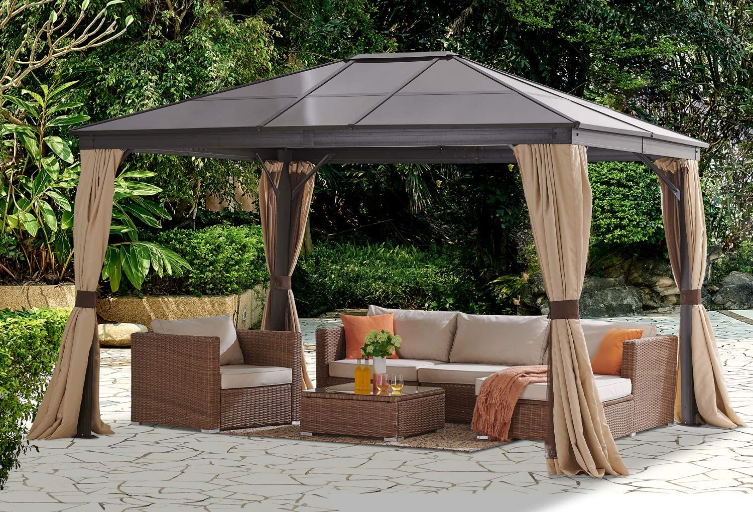 Amazon Com Barton 10 X 12 Hard Roof Outdoor Patio Gazebo Canopy Aluminum Poles Stand Backyard Hardtop Curtains And Netting Uv Resistant Beige Garden Outdoor