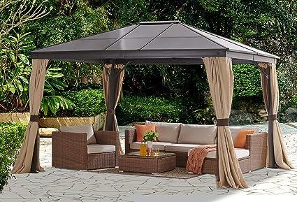 Barton 10 pies x 12 pies Techo Duro Exterior Patio Gazebo Canopy de Aluminio Postes Soporte Patio Hardtop Cortinas y Malla Resistente a los Rayos UV (Beige): Amazon.es: Jardín