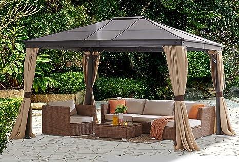 Barton 10 pies x 12 pies Techo Duro Exterior Patio Gazebo Canopy de Aluminio Postes Soporte Patio Hardtop Cortinas y Malla Resistente a los Rayos UV ...