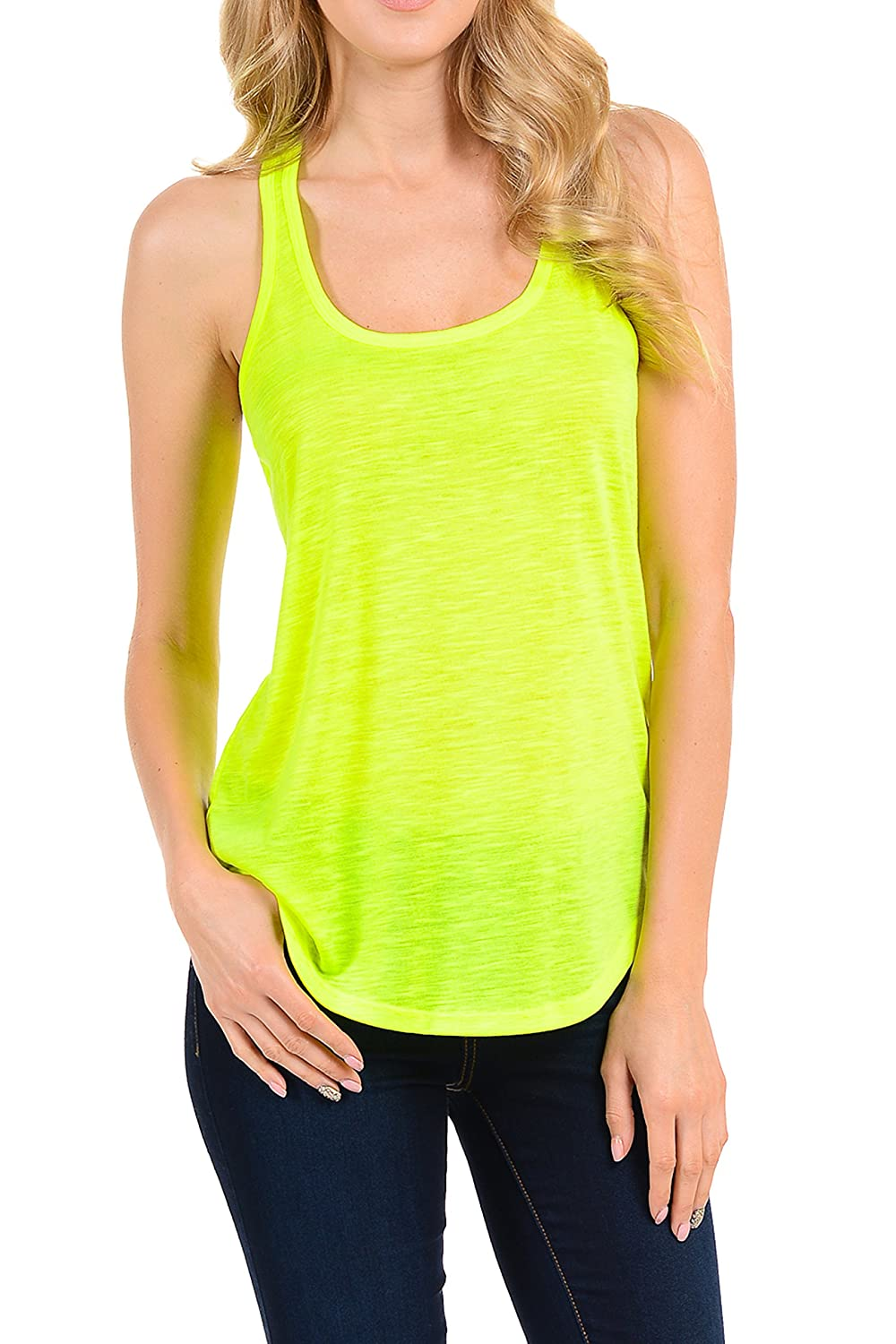 EttelLut Workout Neon Racerback Tank Tops Yoga Sports Activewear Cute Women MC9730