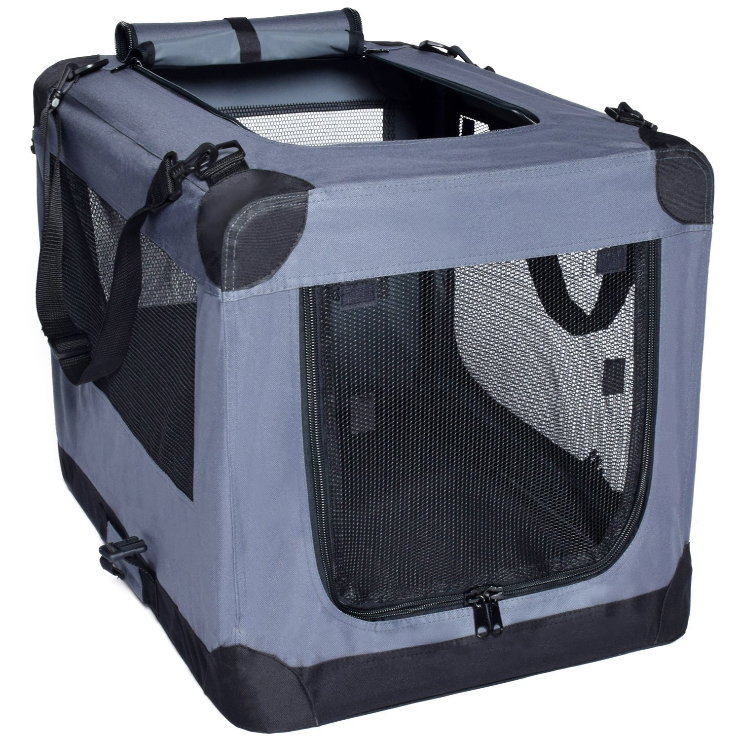 Arf Pets Dog Soft Crate Kennel for Pet Indoor Home & Outdoor Use - Soft Sided 3 Door Folding Travel Carrier with Straps