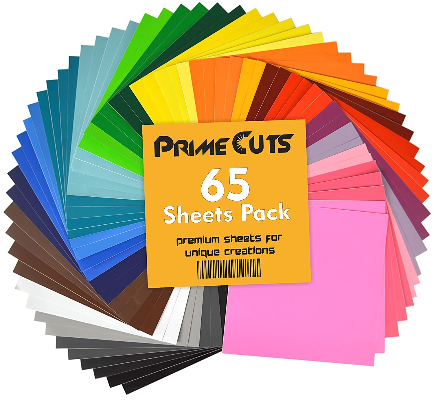 "Permanent Adhesive Backed Vinyl Sheets By PrimeCuts USA - 65 VINYL SHEETS 12"" x 12"" - 65 Assorted Color Sheets for Cricut, Silhouette Cameo, and Other Craft Cutters"