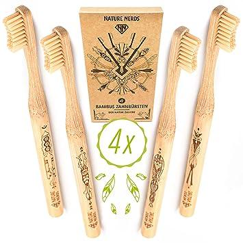 Nature Nerds - Set de cepillo de dientes de bambú (paquete de 4) ♻ Mango y embalaje ...