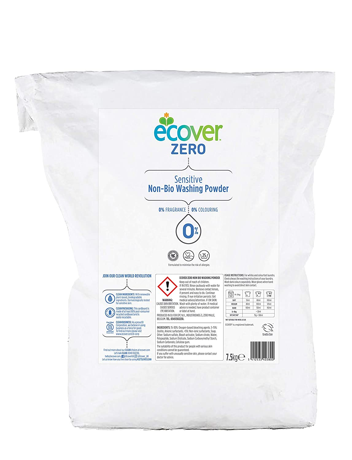 Ecover Zero Non Bio Washing Powder 7.5 Kg by Ecover B009DGEV0M