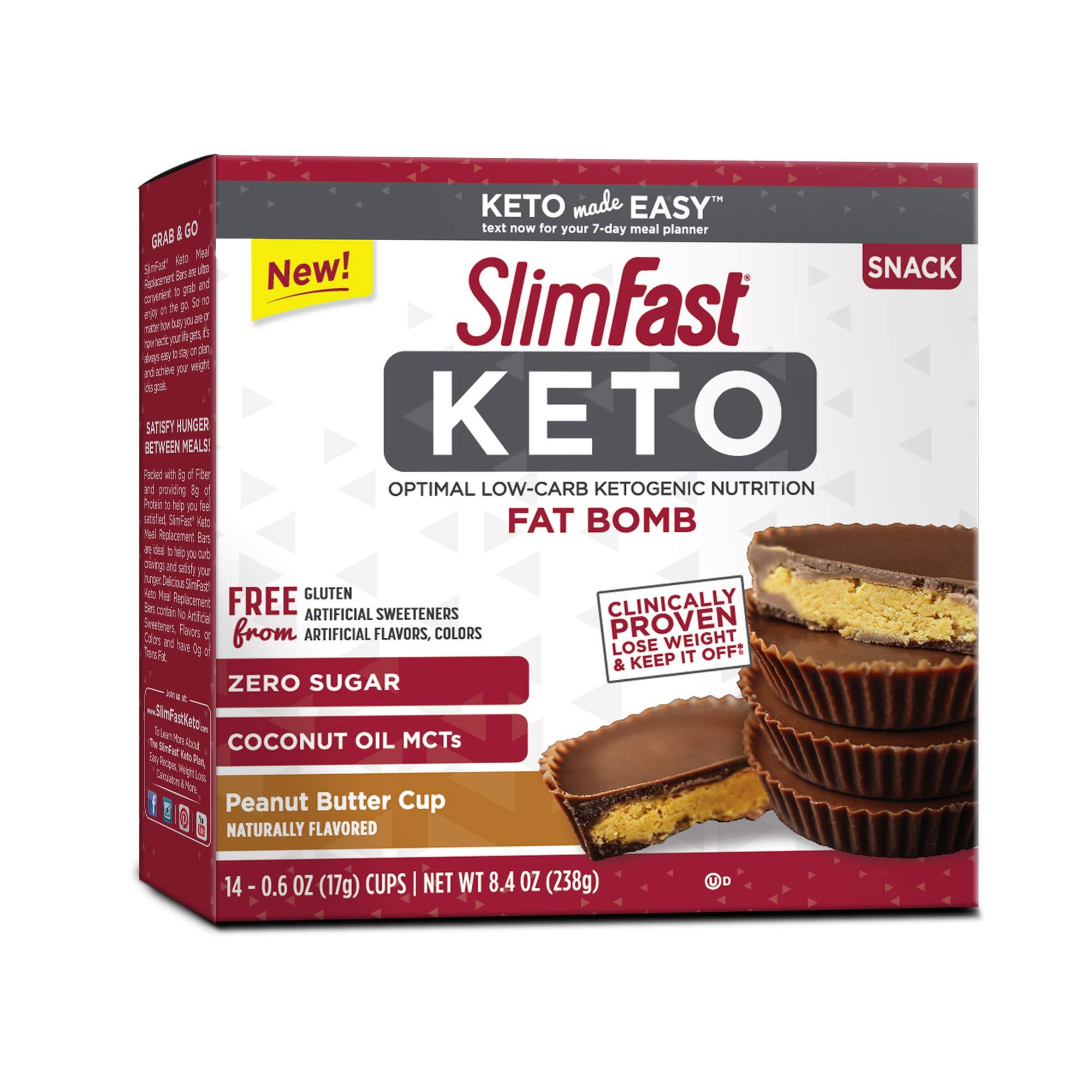 Slimfast Keto Peanut Butter Cup Fat Bomb 0.59 oz 14 per Box (4 Boxes) by Slimfast Keto