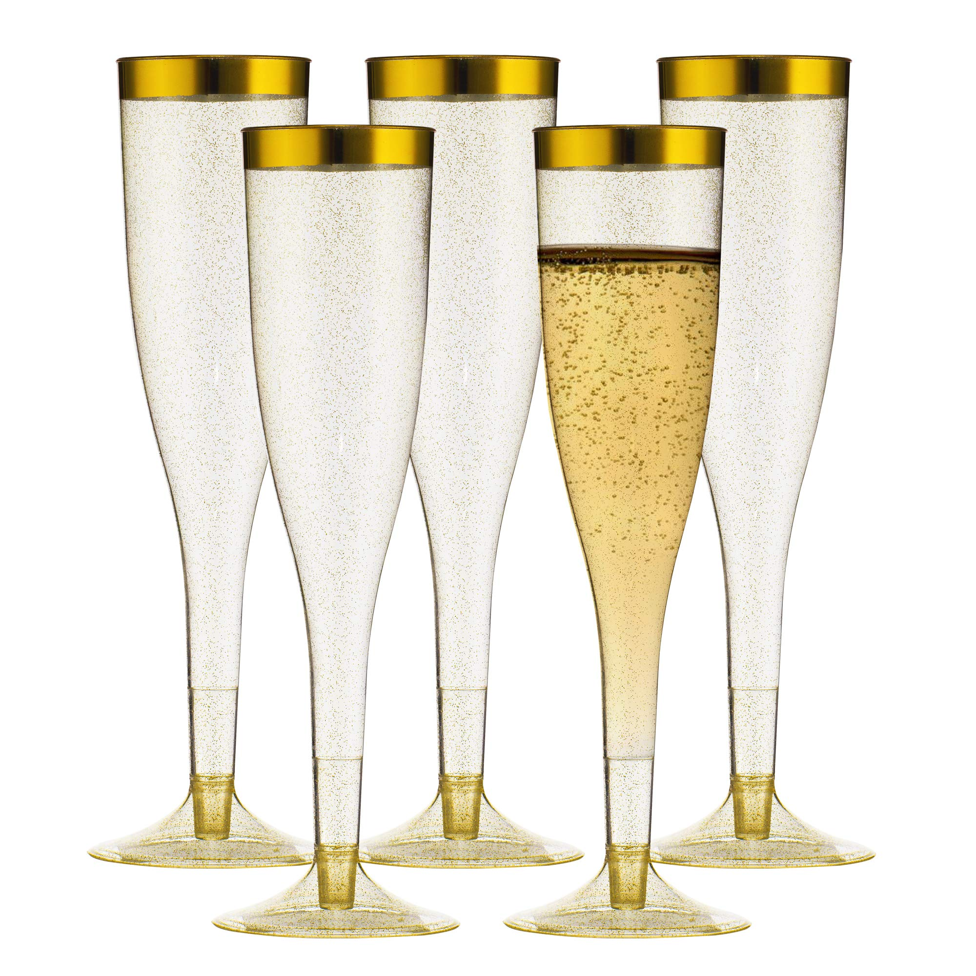 TasteOfQuality Gold Plastic Champagne Flutes - 50-Pcs , Gold Glitter, 6.5 Oz Heavy Duty Wine Glass, Clear Plastic Toasting Glasses, Gold Rim Champagne Flutes, Plastic Wine Glasses for Parties