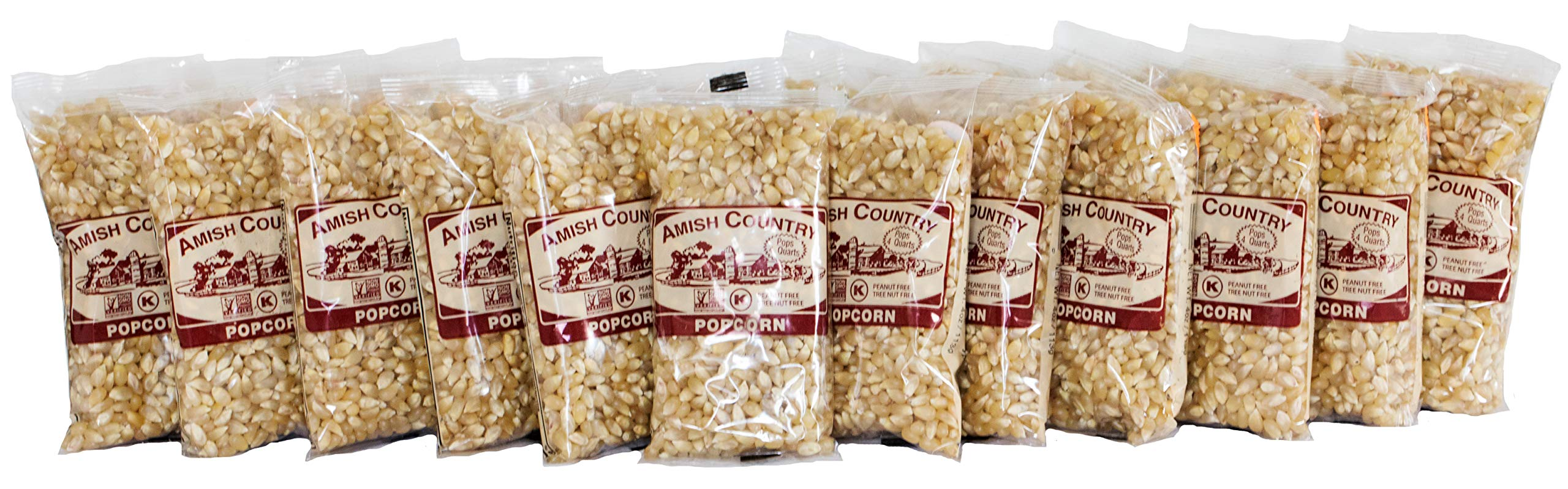 Amish Country Popcorn - Old Fashioned Baby White Kernels - (4 Ounce - 24 Bags) - Small & Tender Popcorn - With Recipe Guide by Amish Country Popcorn