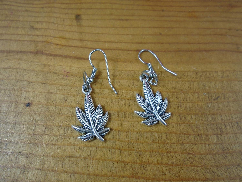 BEACH HEMP JEWELRY Pot Leaf Earrings Dangle Cannabis 420 Weed Charm Handmade In USA