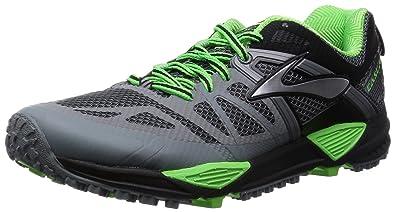 2a2e676e70164 Brooks Men s Cascadia 10 Primer Grey Black Green Gecko Athletic Shoe