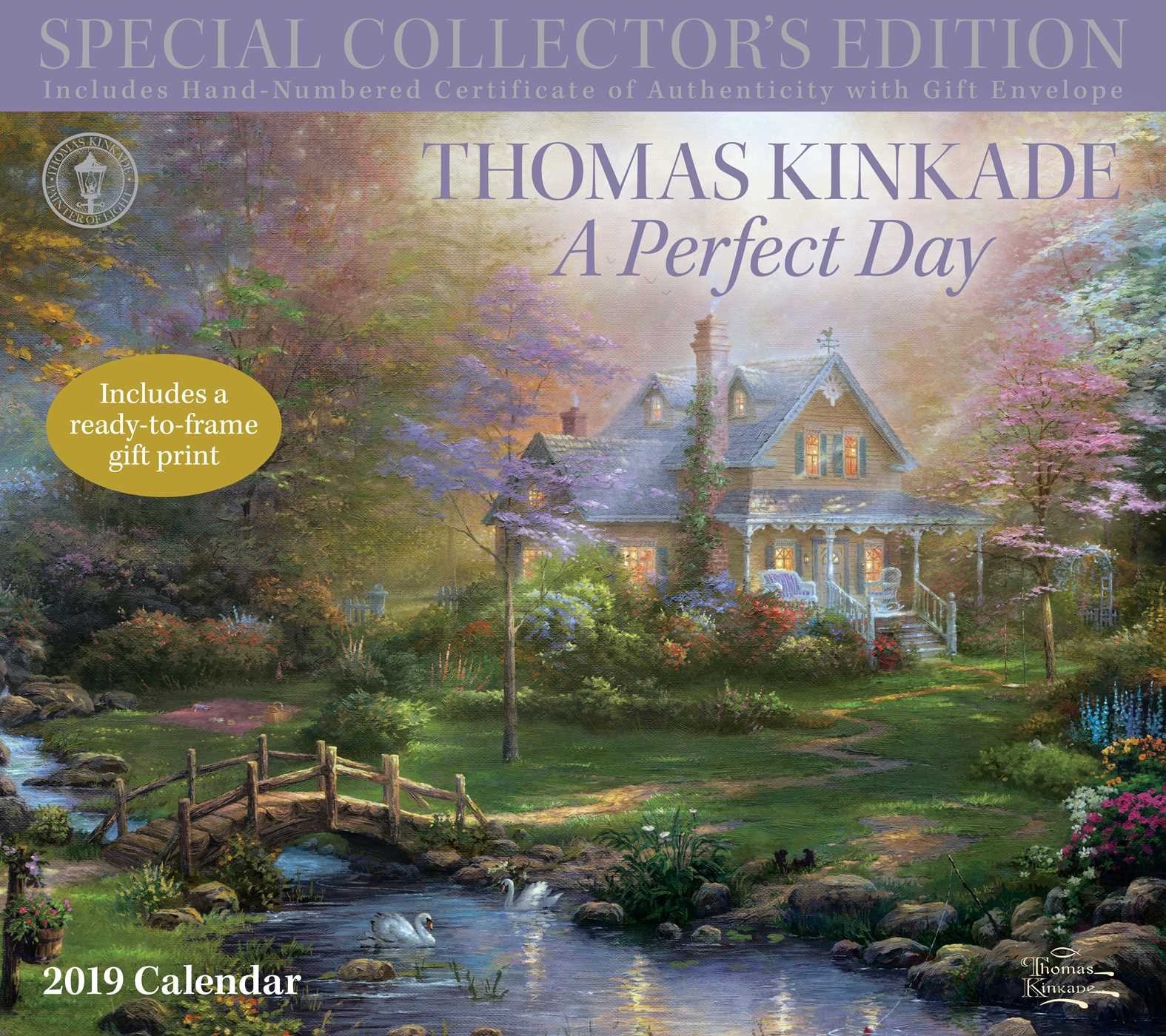 thomas kinkade special collectors edition 2019 deluxe wall calendar a perfect day