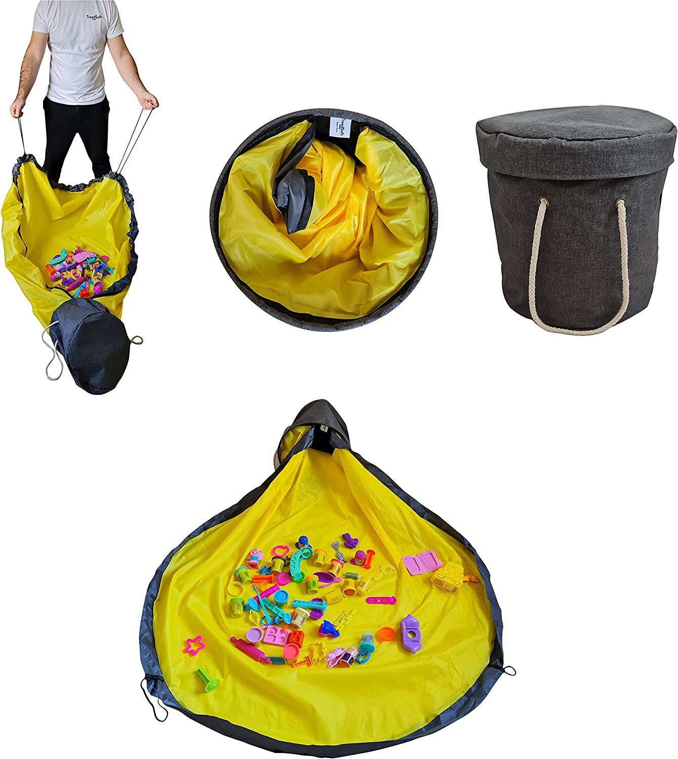 2-in-1 Toy Storage Organizer Baskets and Play Mat,Portable Kids Toy Storage Bag and Play Mat-12,6 Tall by 11,4 Diameter with 52 Play mat,Toys Storage Bag to Keep Lego Bricks contained