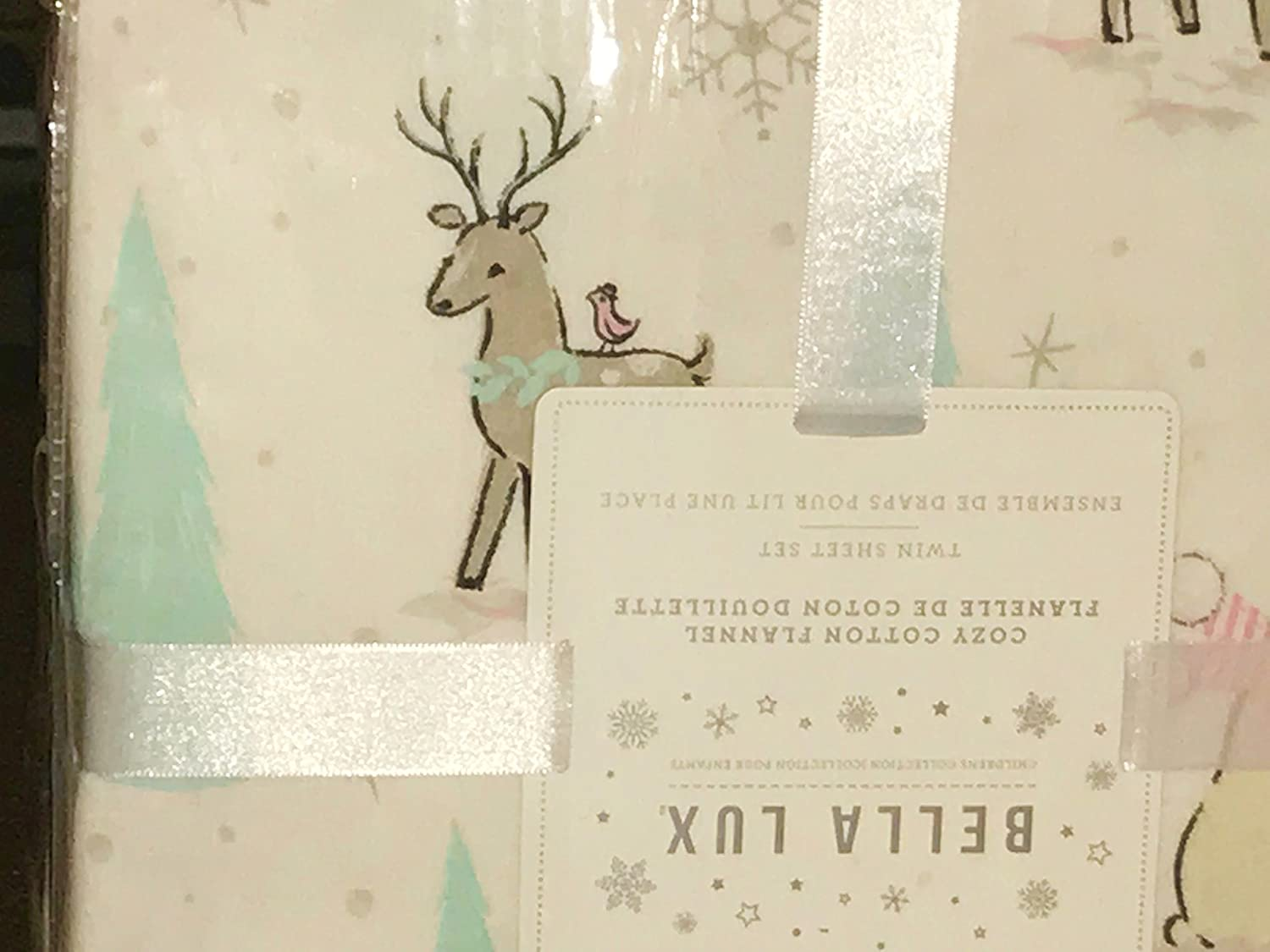 All Cotton Flannel All Cotton Flannel Full Size with White Background Bella Lux Polar Bear Penguin Deer Christmas Tree Flannel Sheet Set