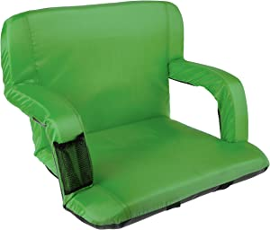 Home-Complete Wide Stadium Seat Chair Bleacher Cushion with Padded Back Support, Armrests, 6 Reclining Positions and Portable Carry Straps, Green