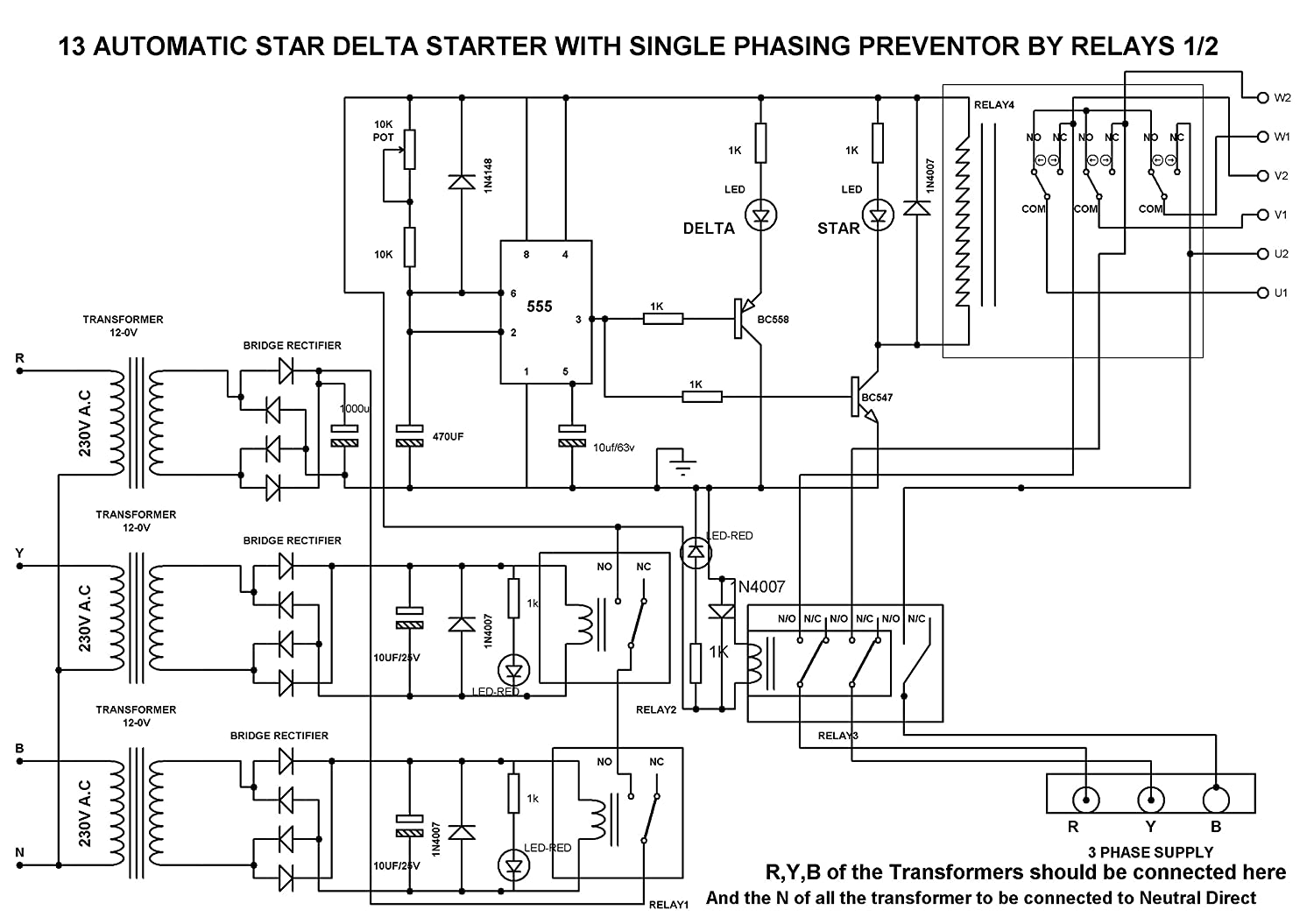 automatic star delta starter using relays for induction