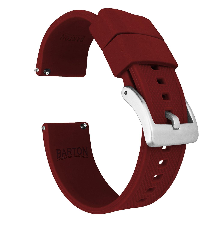 Barton Eliteシリコン時計バンド – クイックリリース – Chooseカラー – 18 mm、20 mm & 22 mm腕時計ストラップ 22mm クリムゾンレッド 22mm|クリムゾンレッド クリムゾンレッド 22mm B07B5SBY88