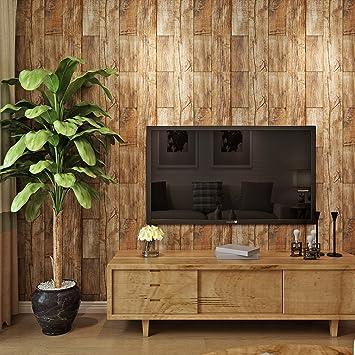 hanmero Tapete Vintage Design-Holz 3D natur Vinyl für Schlafzimmer ...