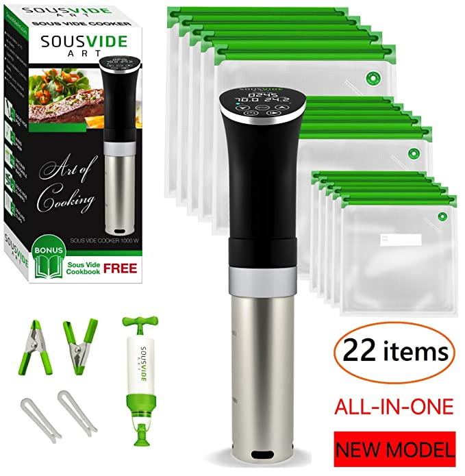 Sous Vide Cooker Immersion Circulator - Sous Vide Starter Kit - Sous Vide Pod 1000W, 15 Bags, Pump, Clips, Free Cookbook best sous vide cooker