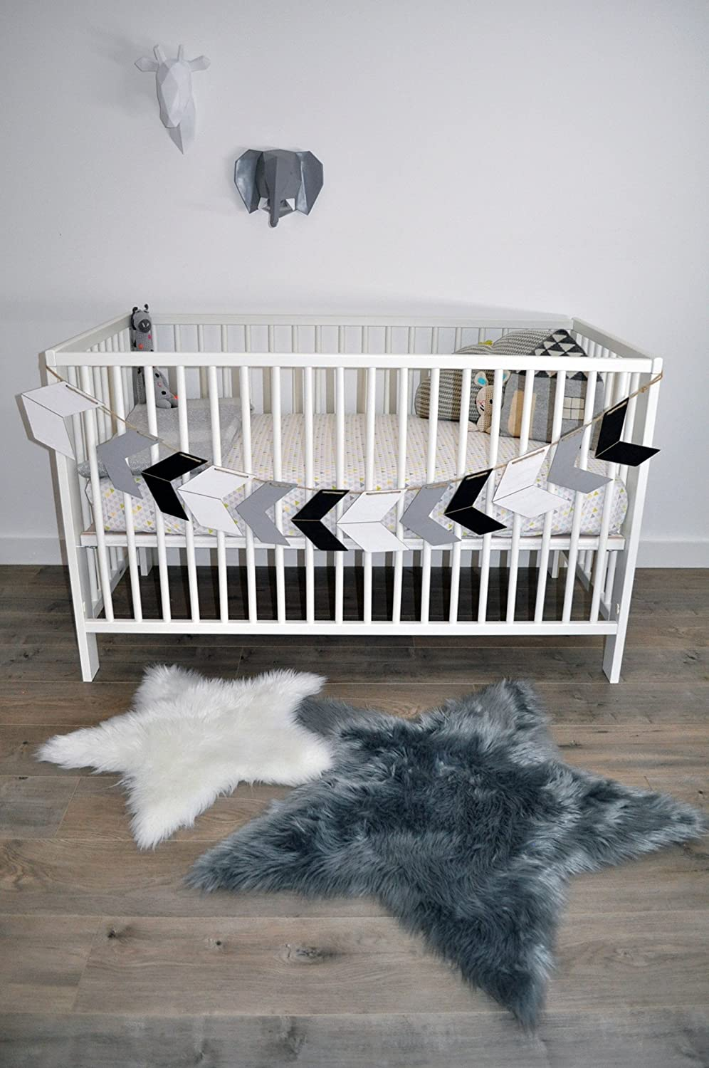 playroom Machine Washable Faux Sheepskin Grey Star Area Rug 3 x 3 Perfect for babys room Star Large Grey Soft and silky nursery