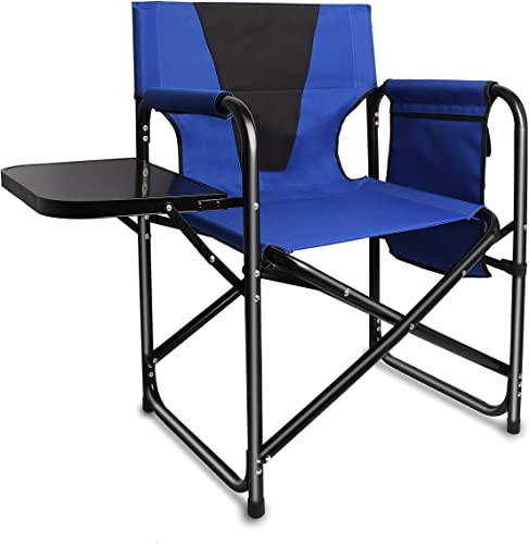 Camping Folding Director s Chair – Full Back Aluminum Lightweight Chair Supports 300lbs with Aluminum Side Table Storage Bag Indoor Outdoor,Weight 8.37 lbs