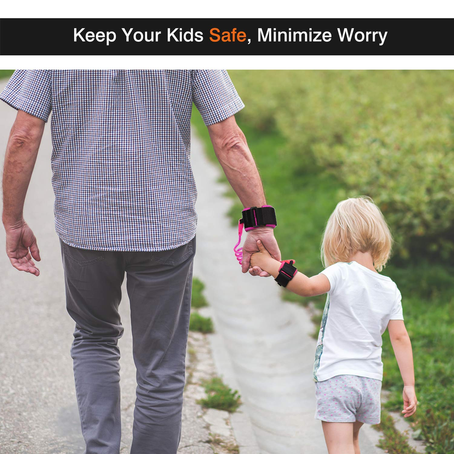1.5M Purple Zooawa Child Outdoor Safety Hook and Loop Wristband Leash Child Safety Harness for Kids and Toddlers Anti Lost Wrist Link