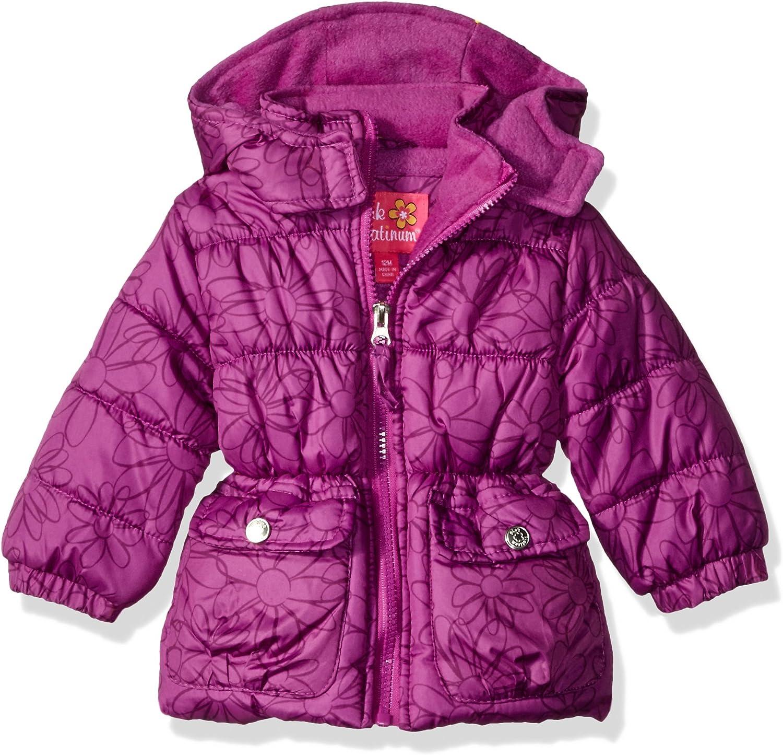 Pink Platinum Baby Girls Infant Tonal Floral Print Puffer Jacket
