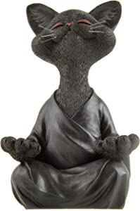 JFSM INC. Whimsical Black Buddha Cat Figurine Meditation Yoga Collectible - Happy Cat Collection - Cat Lover Gifts for Women, Cat Lover Gifts for Men, Meditation Decor, Yoga Decor