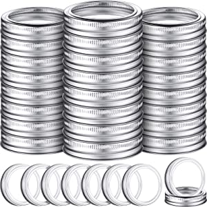 100 Pieces 70 mm Regular Canning Ring Regular Mouth Jar Replacement Metal Ring Canning Jar Bands Silver Rustproof Tinplate Rings for Mason Jars