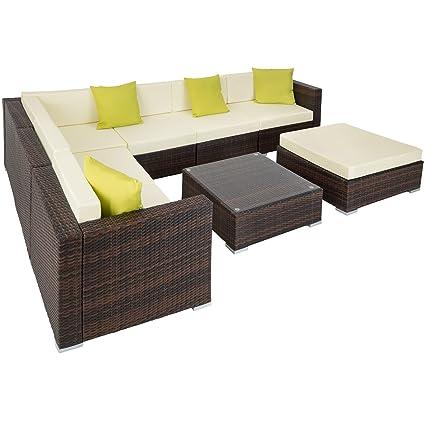 TecTake Aluminio POLIRATÁN Conjunto TRESILLO Muebles DE RATÁN Conjunto para JARDÍN Incl. Fijaciones (Marrón Mixto | no. 401816)