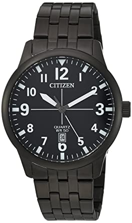 Citizen Mens Quartz Stainless Steel Casual Watch, Color:Black (Model: BI1055-