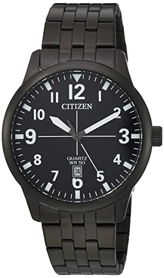 Amazon.com: Citizen Mens Quartz Stainless Steel Casual Watch, Color:Black (Model: BI1055-52E): Citizen: Watches