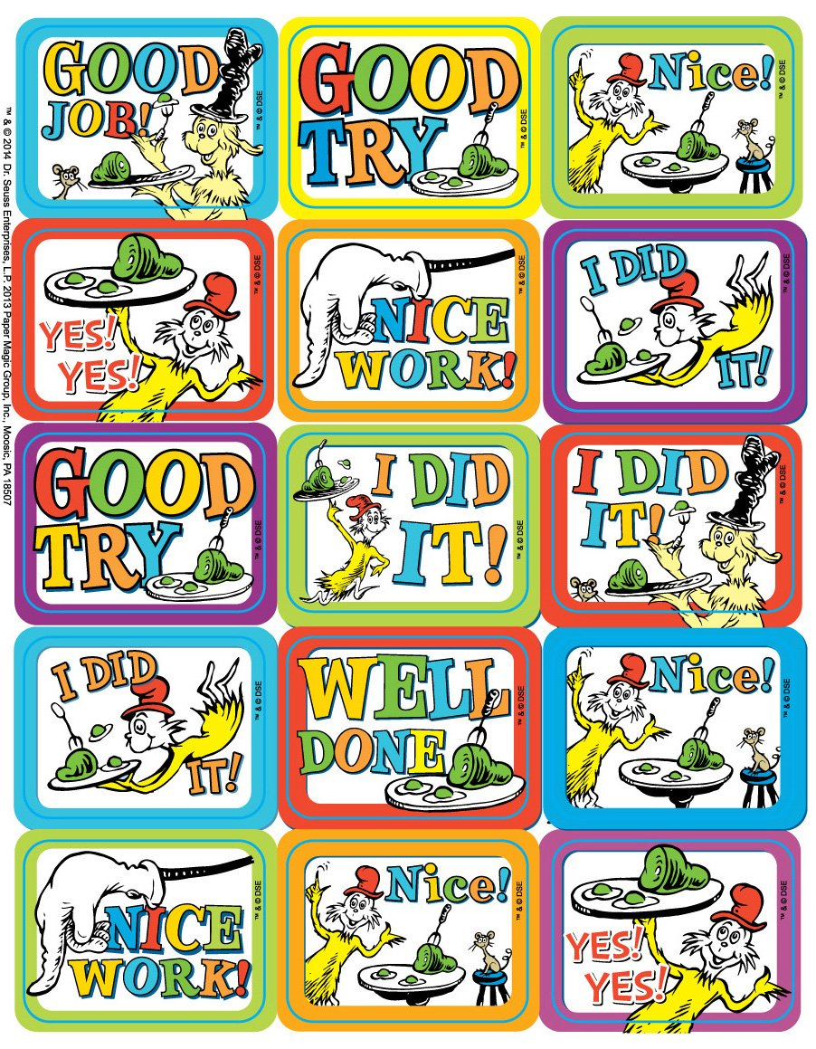 Paper Magic Eureka Dr. Seuss Green Eggs and Ham Stickers, 120 pc, 1.4'' W x 1'' H.