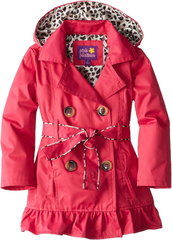 Pink Platinum Little Girls  Double Leopard Trench Rain Jacket