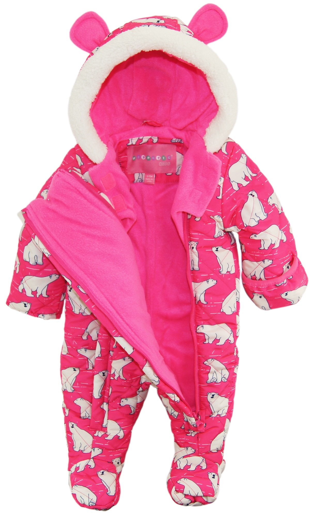 Wippette Baby Girls Newborn Polar Bear Microfiber Quilted Snowsuit Snow Pram, Pink, 3-6 Months by Wippette (Image #2)