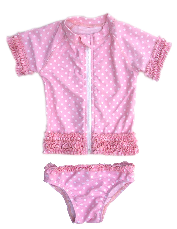 SwimZip Baby Rash Guard Set - Girl Short Sleeve 2 Piece Swimsuit With SPF SZ116E