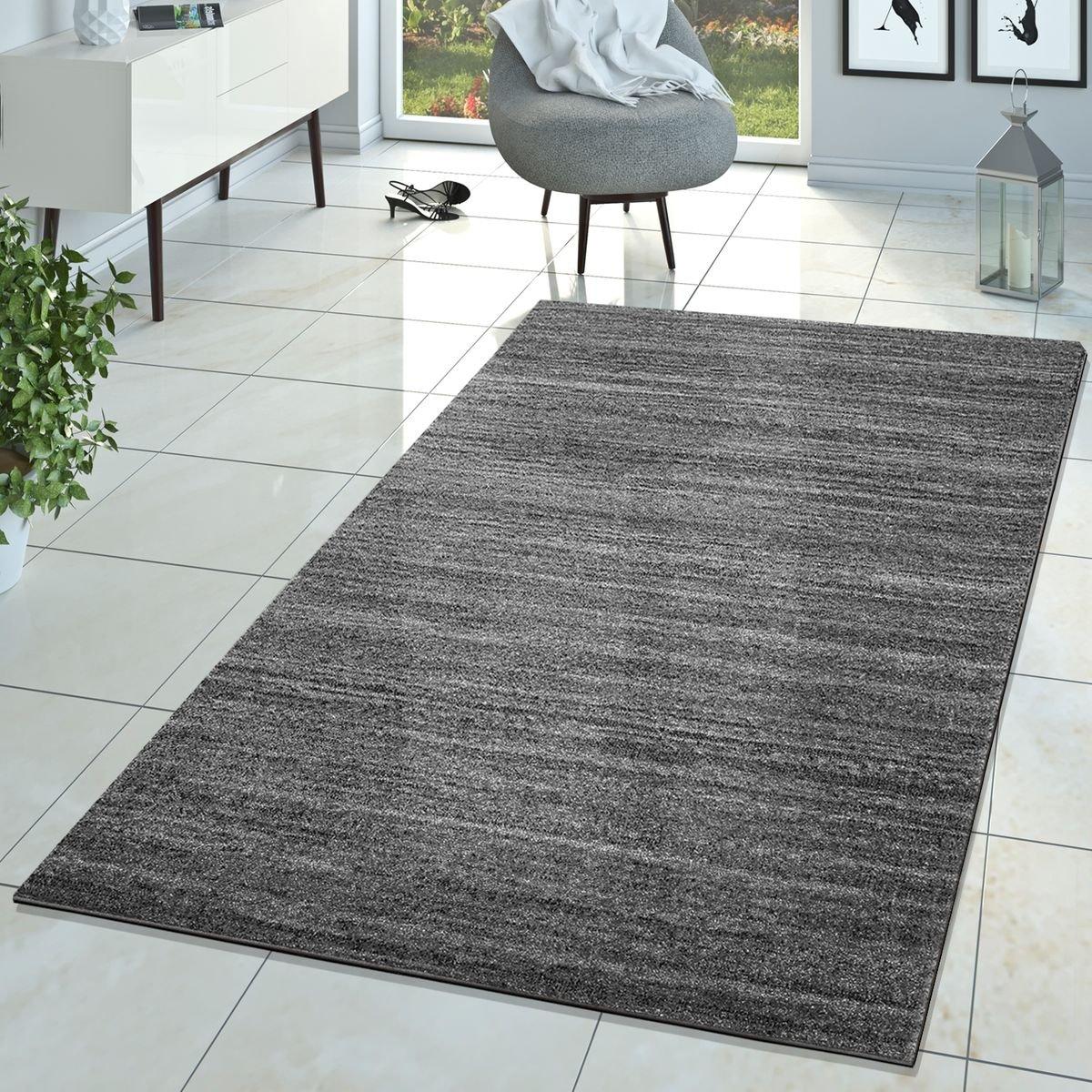 T&T Design Teppich Braga Modern Kurzflor Teppiche Wohnzimmer Einfarbig Meliert Uni Grau, Größe 240x320 cm
