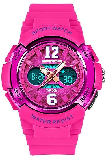 Kids Fashion Digital deportes reloj alarma Cronómetro impermeable electrónico relojes rosa: Amazon.es: Relojes