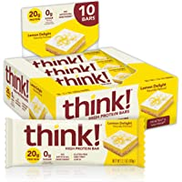 think! (thinkThin) High Protein Bars - Lemon Delight, 20g Protein, 0g Sugar, No Artificial Sweeteners, Gluten Free, GMO…