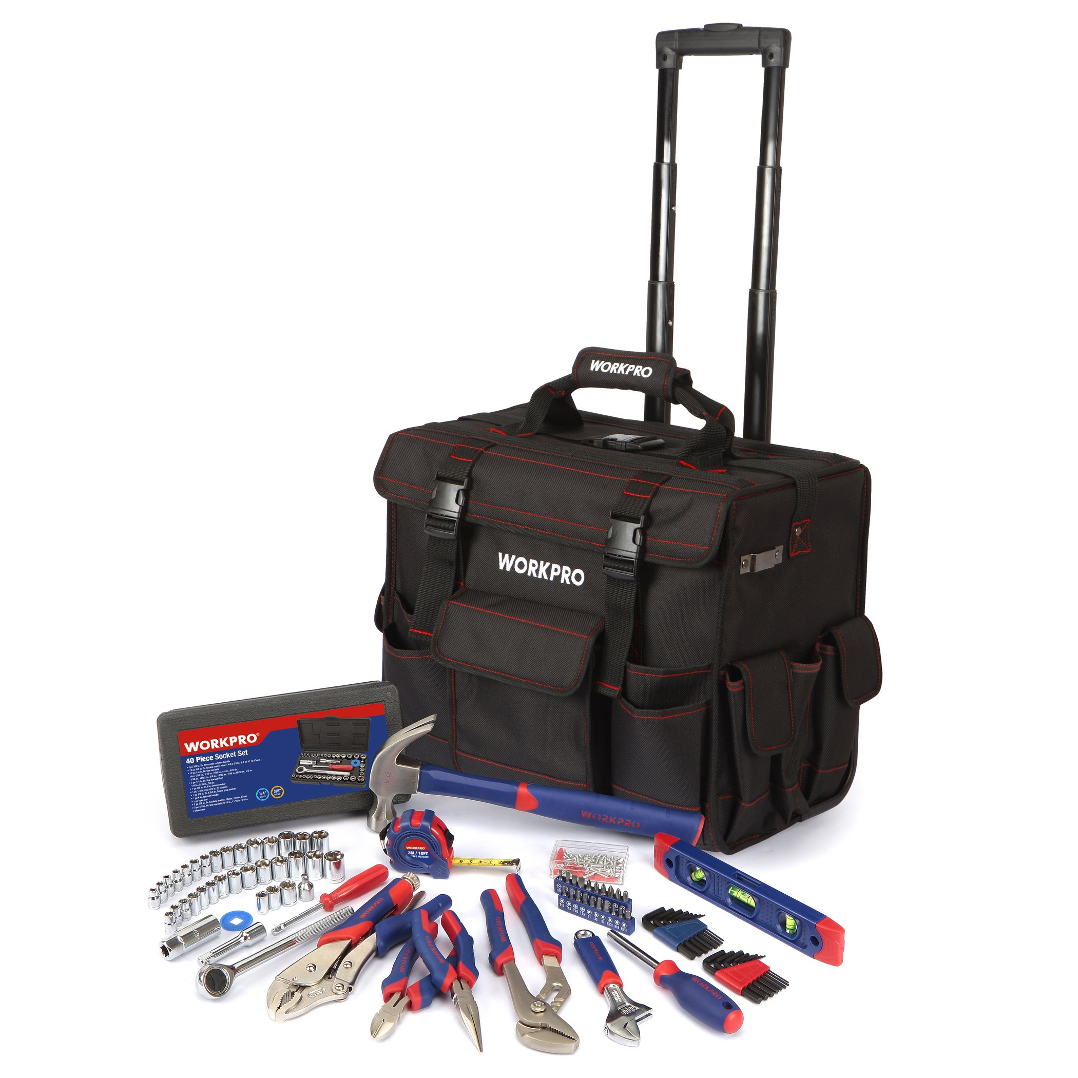 WORKPRO W009029A 176 -Pieces Tool Set With Tool Trolley  Bag, Chrome-vanadium Steel Home Tool Set