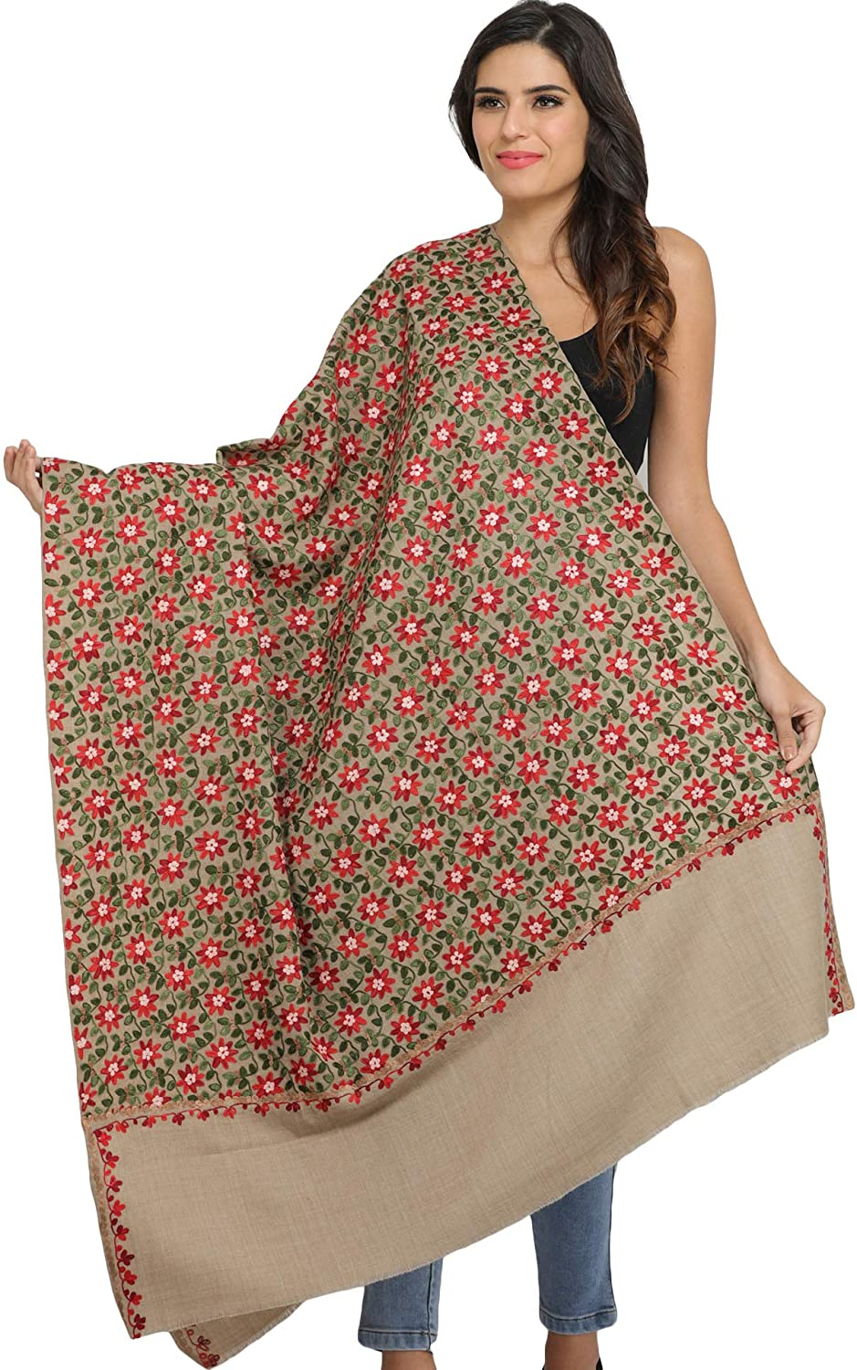 Beige SWN18 Exotic India Light-Taupe Pure Wool Shawl from Amritsar with Ari Floral E