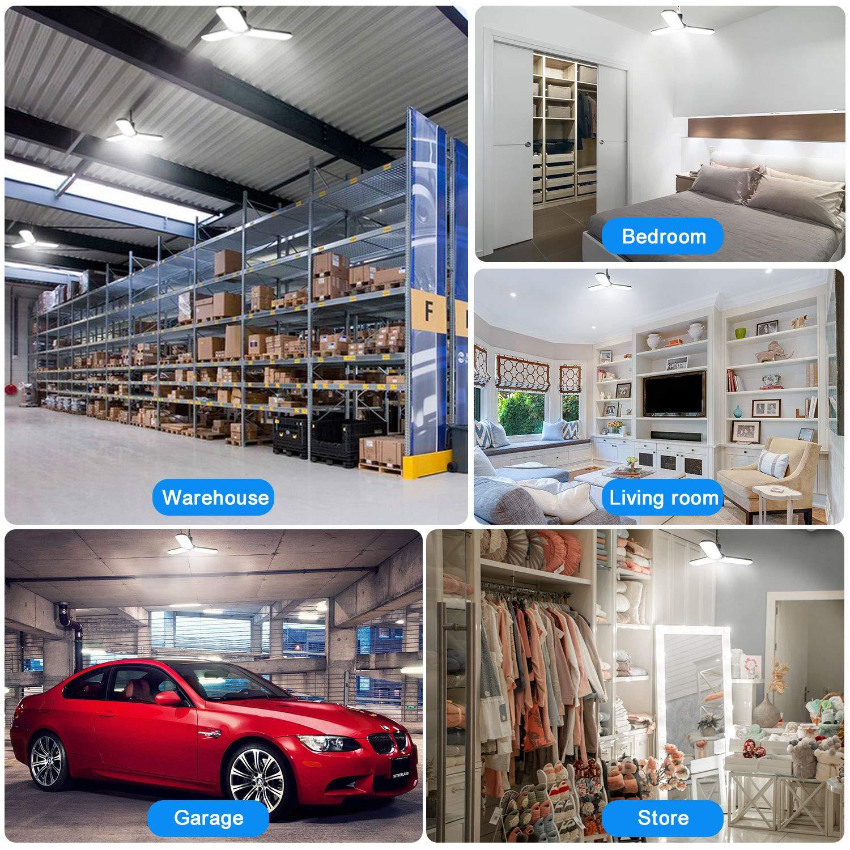 Workbench Workshop Barn Basement Garage Light,45W LED Ceiling Light,4500LM White Led Shop Light,Deformable Foldable E26 Lighting for Garage Warehouse