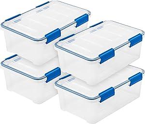 IRIS USA WSB-SS 16 Quart WEATHERTIGHT Multi-Purpose Storage Box, Clear with Blue Buckles, 4 Pack