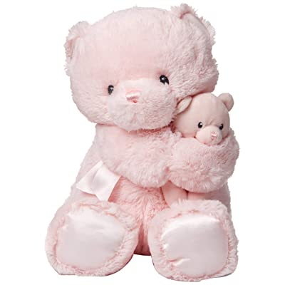 "GUND Momma and Baby Teddy Bear Stuffed Animal Plush Rattle, Pink, 11"": Toys & Games"