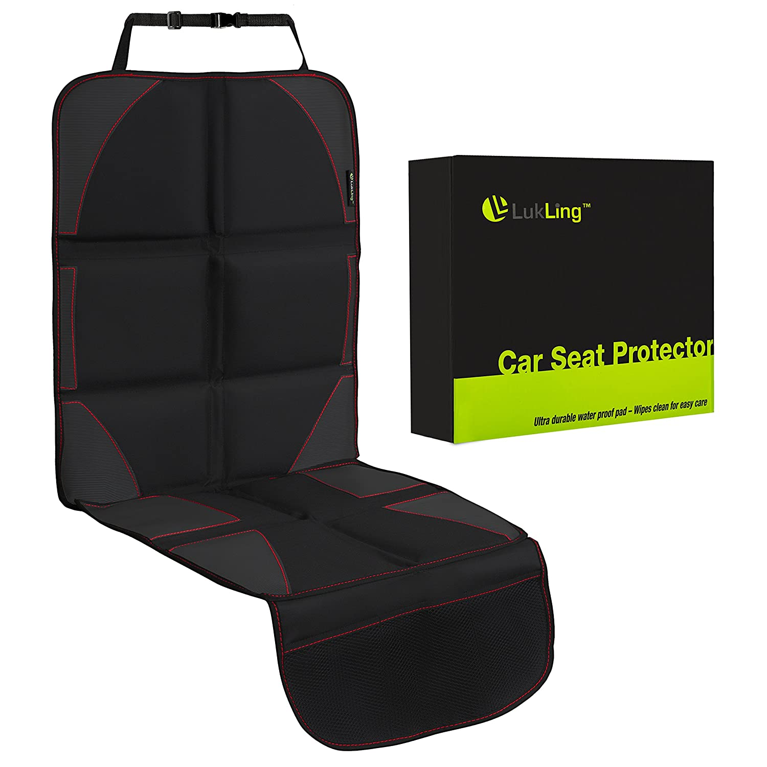 Car Seat Protector with Thickest Padding, Largest Pad for Leather Seats in Luxury Cars - 2 Mesh Organizer Pockets - Works Great with Children and Pets, Waterproof (Black with Red Stitching) Lukling