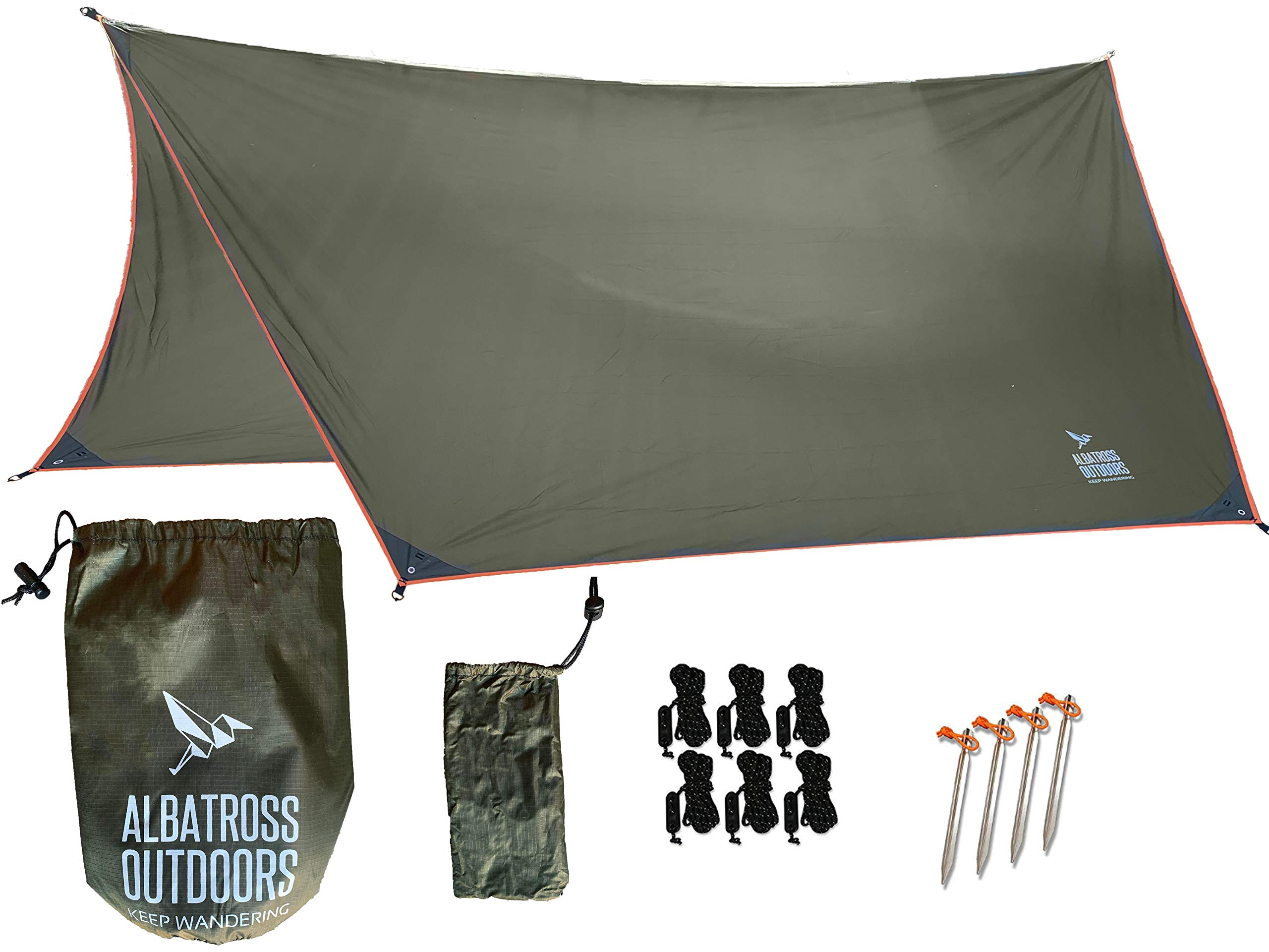 Albatross Outdoors XL 12'x10' Hammock Waterproof Rain Fly - Quality Waterproof Ripstop Nylon Tarp - Highly Versatile Great for Hammocks, Tents, Lean-to - Stakes, Guy Lines, and Stuff Sack Included by Albatross Outdoors