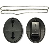 Hero's Pride Universal Shield Leather Badge Holder with Free Neck Chain