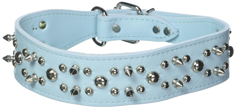 OmniPet Spiked & Studded Latigo Leather Pet Collar, 2  x 25 , Baby bluee