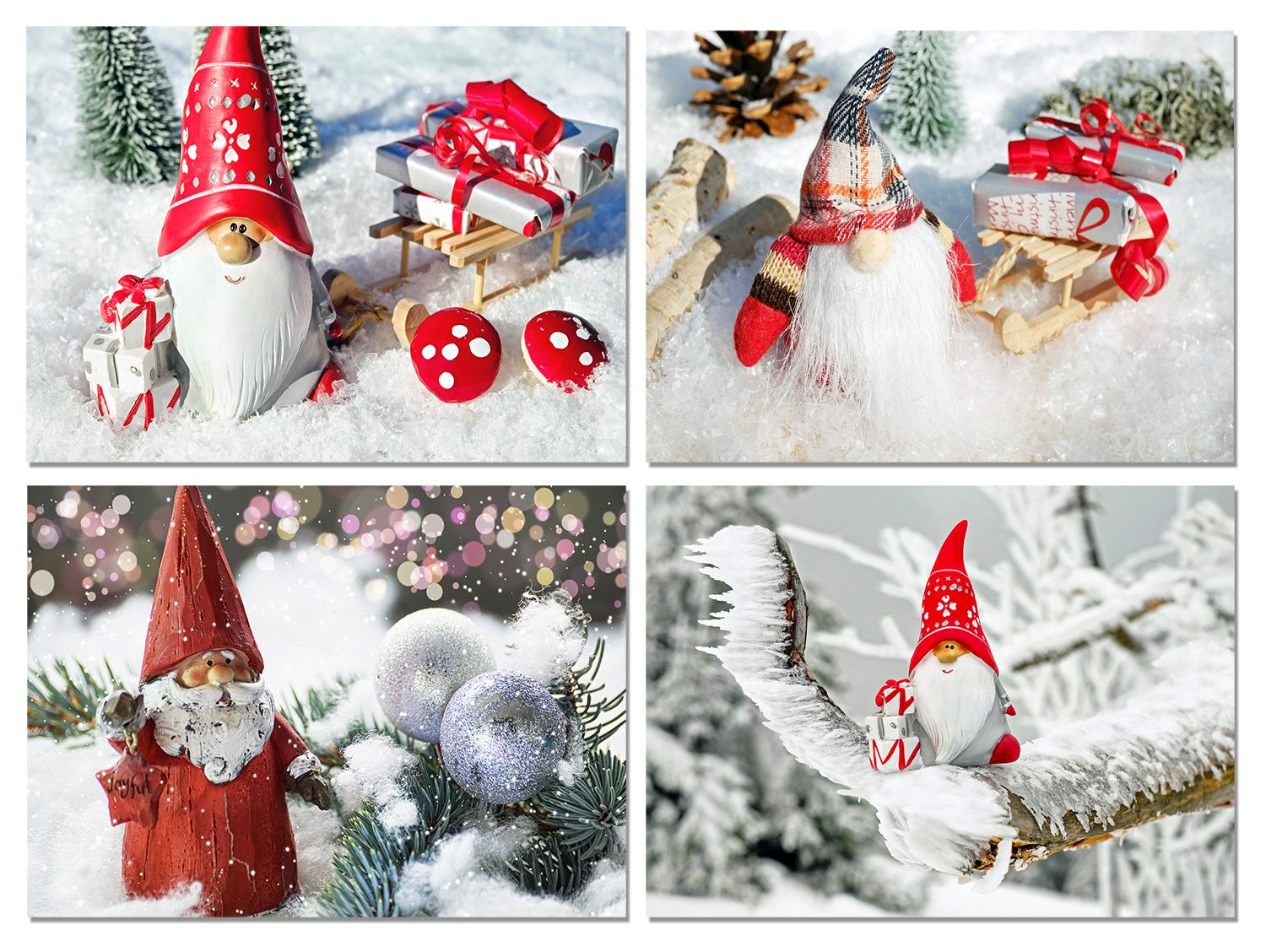 Amazon.com : Christmas Gnomes Blank Note Cards - Holiday Greeting ...