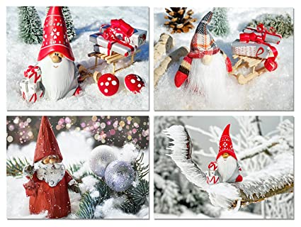 Christmas Gnomes Images.Christmas Gnomes Blank Note Cards Holiday Greeting Cards With Envelopes 4 Unique Designs 5 5 X4 25 12 Pack