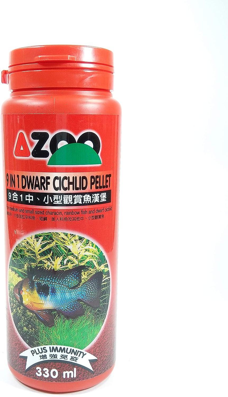AZOO 9 in 1 Dwarf Cichlid Pellet for Medium and Small Sized Characin, Rainbow Fish and Dwarf Cichlid Food 330ml